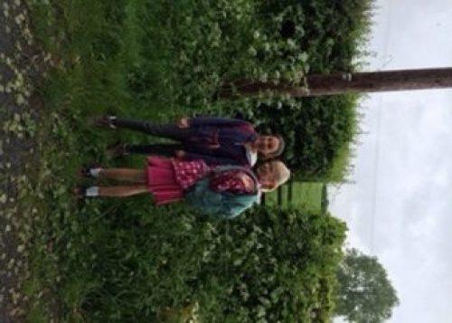 Lucia & Cerys on their sponsored walk - the 'Orangathon'