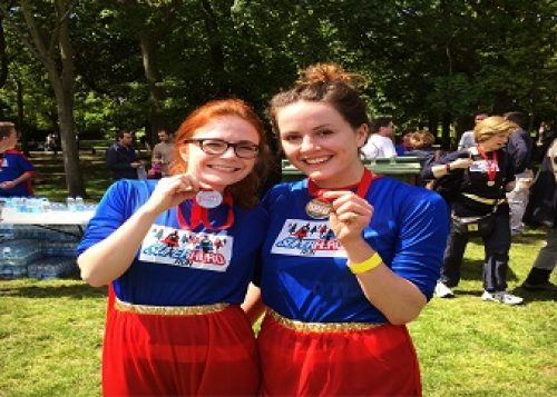 Polly and Sophie at the Super Hero Run