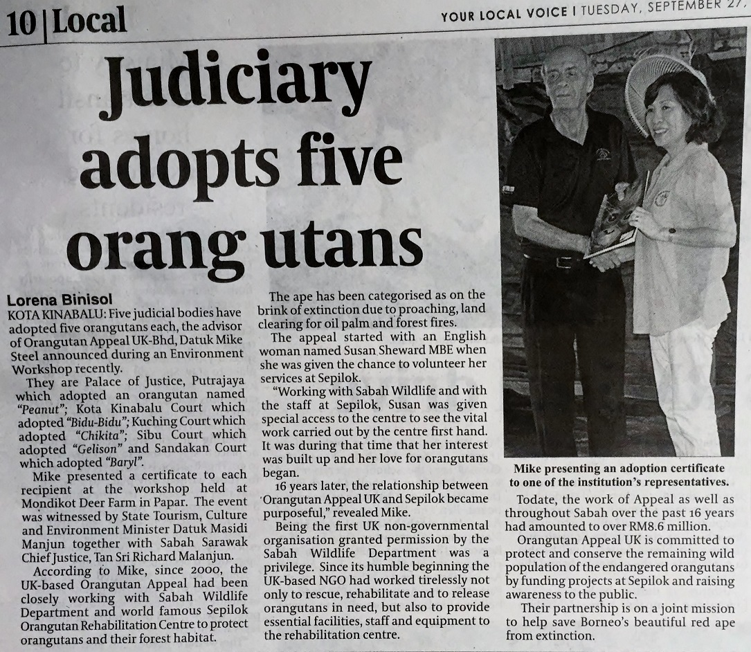 Daily Express Judicial Courts Adopt Orangutans 27 09 16  Copy