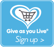 Give as you Live button square blue