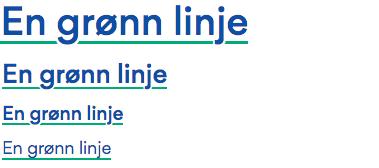 Teksteksempler med grønn linje under