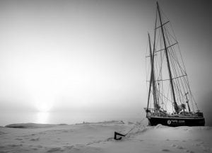 Artic Mission boat, anchor, sea ice