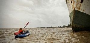 Pip Stewart kayaking Essequibo river