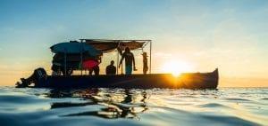 surfing in Madagascar boat