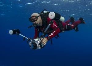 Mr Marc Hayek underwater during Gombessa IV in Fakarava Atoll