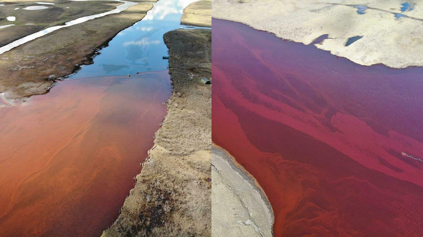 Ambarnaya river Arctic Circle Oil Spill