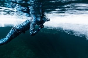 Ice diving, freediving, Canada, free diver