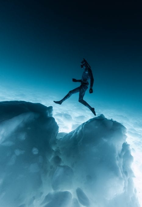 Ice diving, Canada, free diver, by Geoff Coombs
