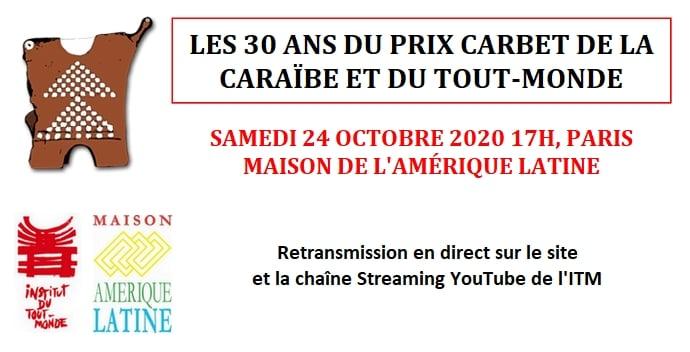 Suivez en direct la cérémonie des 30 ans du Prix Carbet de la Caraïbe et du Tout-Monde à 17h