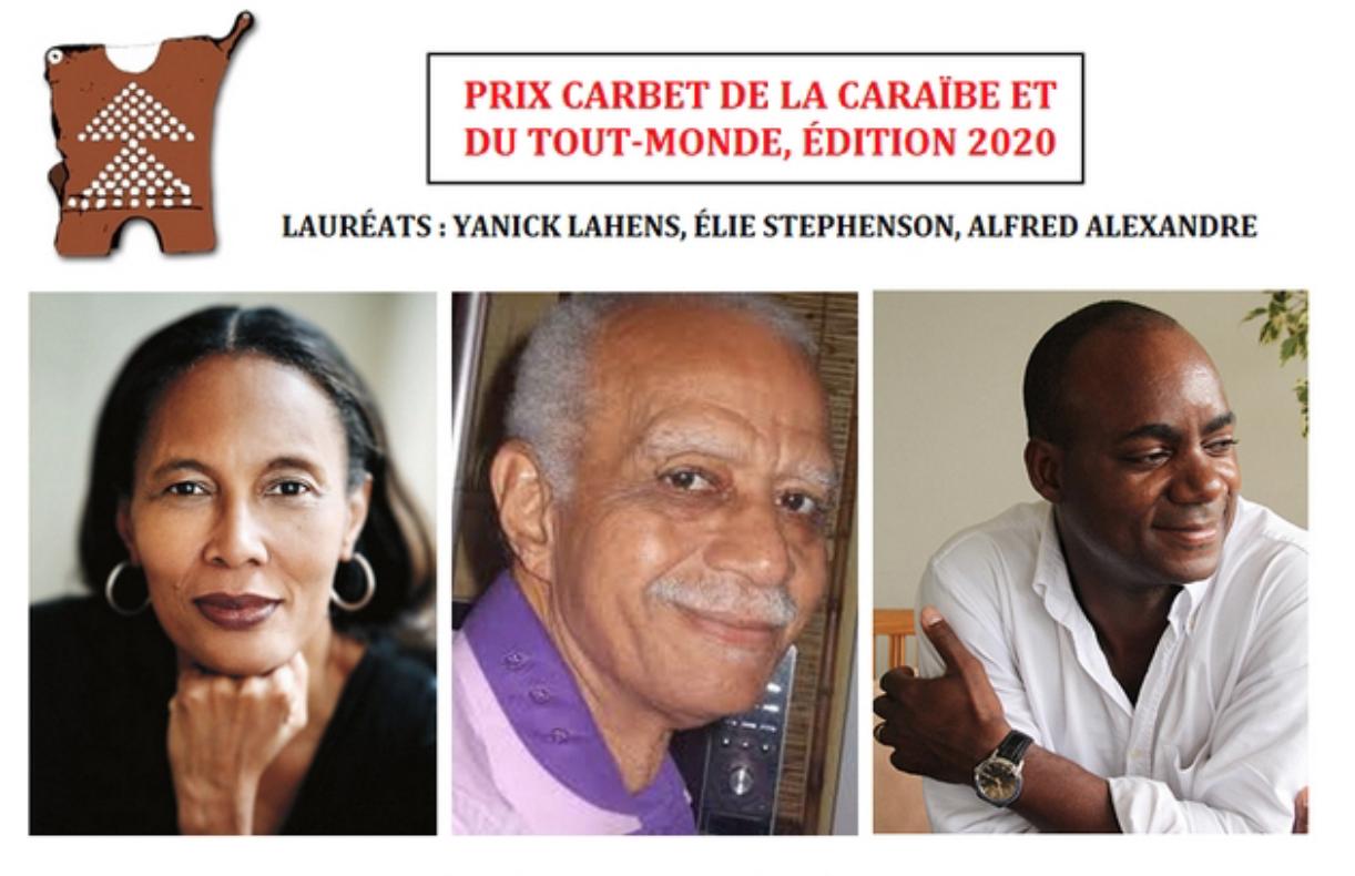 Culture : Les écrivains Elie Stephenson, Yannick Lahens et  Alfred Alexandre lauréats du 30ème Prix Carbet de la Caraïbe et du Tout-Monde