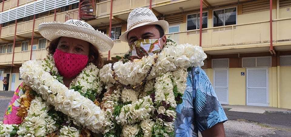 Lana Tetuanui et Teva Rohfritsch, tous deux candidats de la majorité d'Édouard Fritch, ont remporté les élections sénatoriales en Polynésie, le 27 septembre dernier ©Radio 1 Tahiti