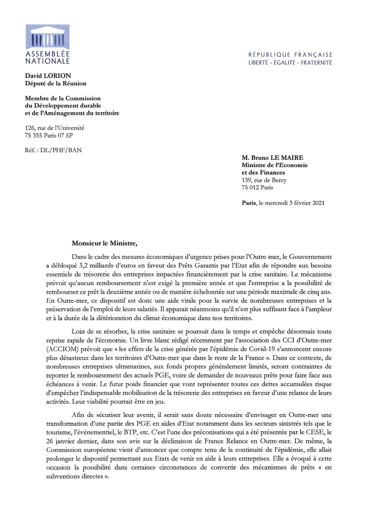 COUR MINECO conversion des PGE en AE pour les secteurs économiques en difficulté en OM 03fev2021 pag 1