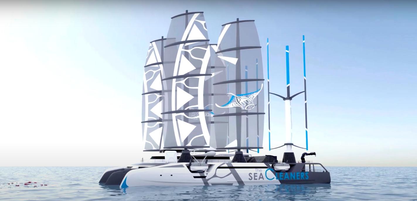 Le Manta, bateau nettoyeur des océans capable de ramasser 3,5 tonnes de déchets par heure