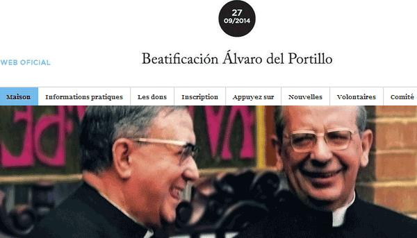Le site dédié à la béatification d'Alvaro del Portillo