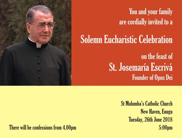 Masses in Nigeria on the occasion of the feast of St Josemaría Escrivá - June 2018