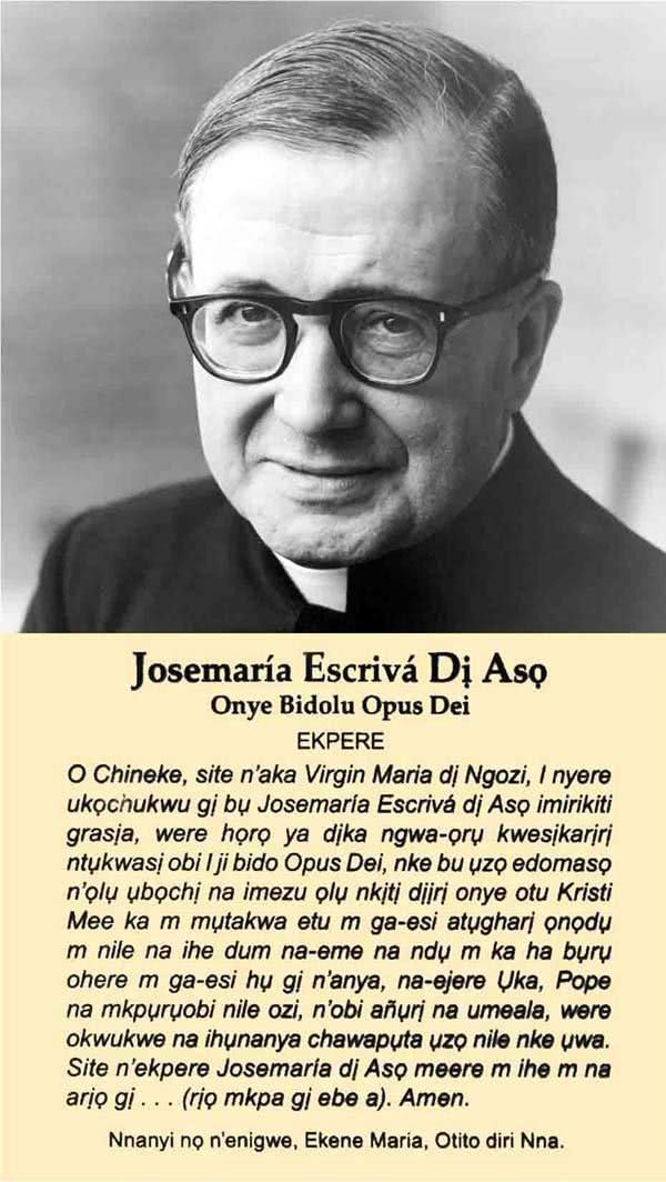 The Prayer Card of St. Josemaría Escrivá in Igbo