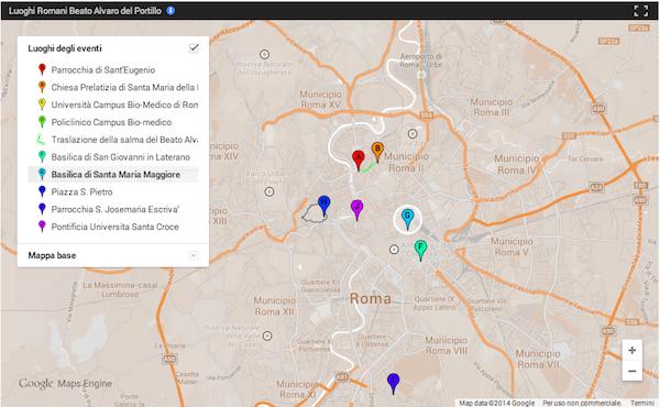 Mappa degli eventi di Roma