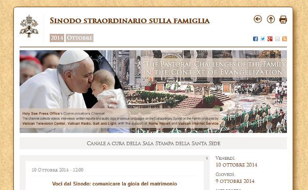 Il sito web ufficiale del Sinodo