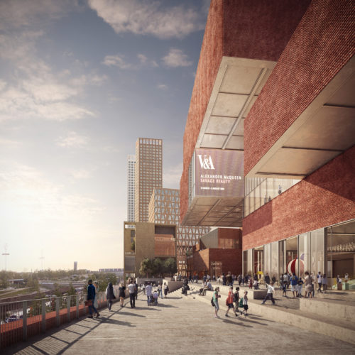 Shared public spaces: V&A East and Sadler's Wells Theatre in the background