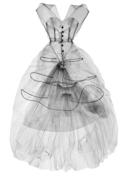 X-ray photograph of Silk Taffeta Evening Dress. Cristó bal Balenciaga, 1955, photograph by Nick Veasey, 2016