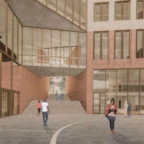 Gruner + Jahr headquarters: entrance courtyard