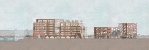 Gruner + Jahr headquarters: west elevation