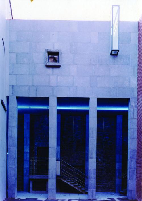 Projection box: Limestone colonnade, neon line