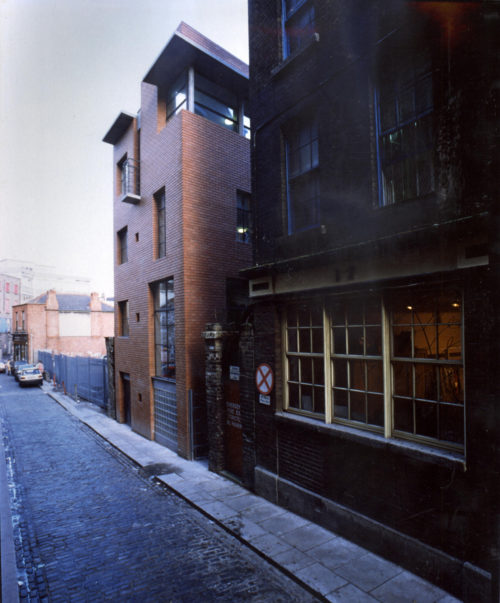 Elevation to Sycamore Street showing urban context before Temple Bar redevelopment, 1992