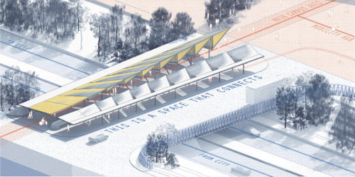 New Bridge Platform and Entrance Plaza, drawing by Superposition (www.wearesuperposition.com)