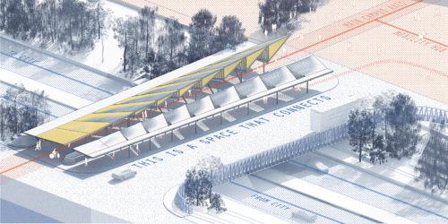 New Bridge Platform and Entrance Plaza, drawing by Plattenbau Studio