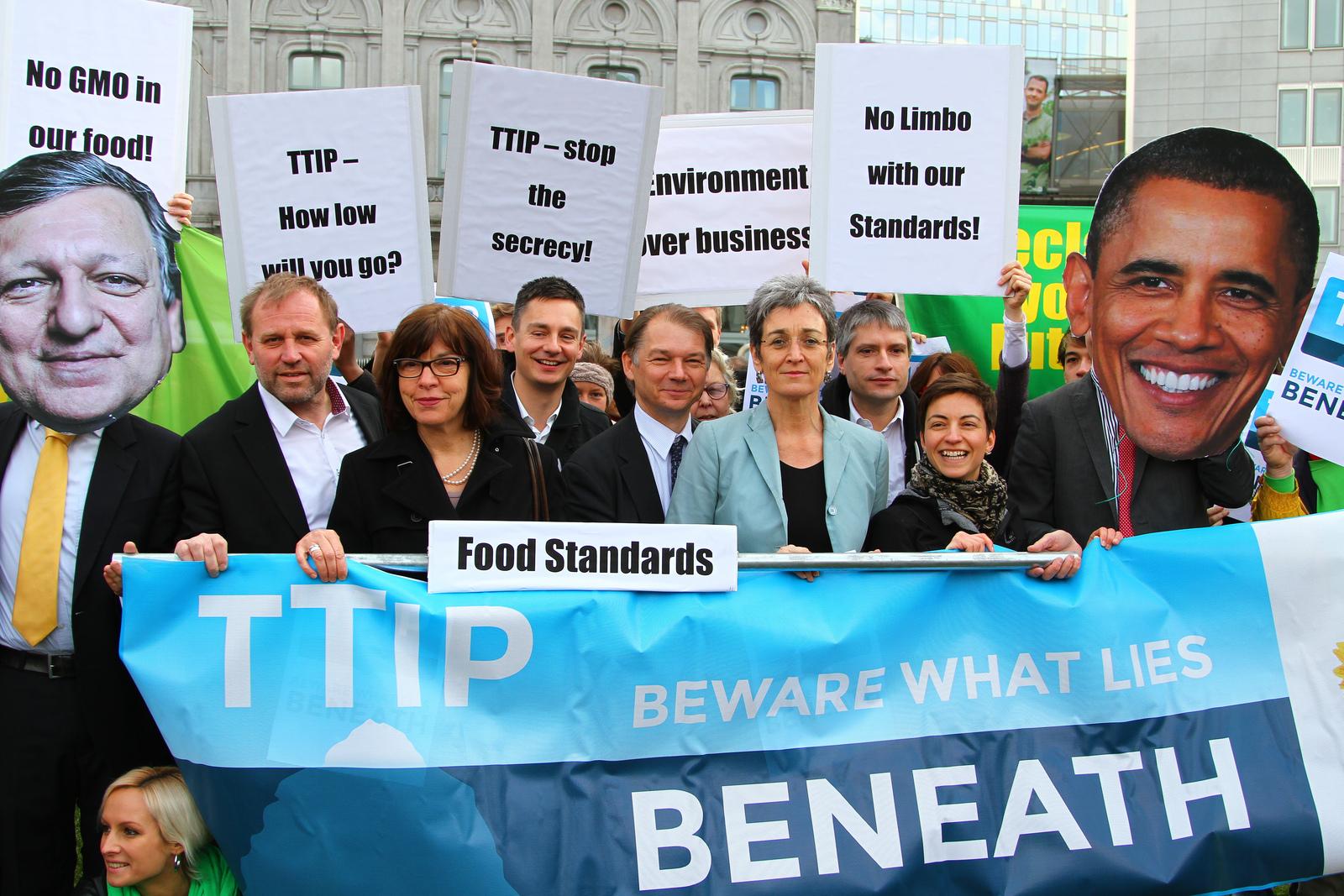 Protesten tegen de TTIP in Brussel, maart 2013