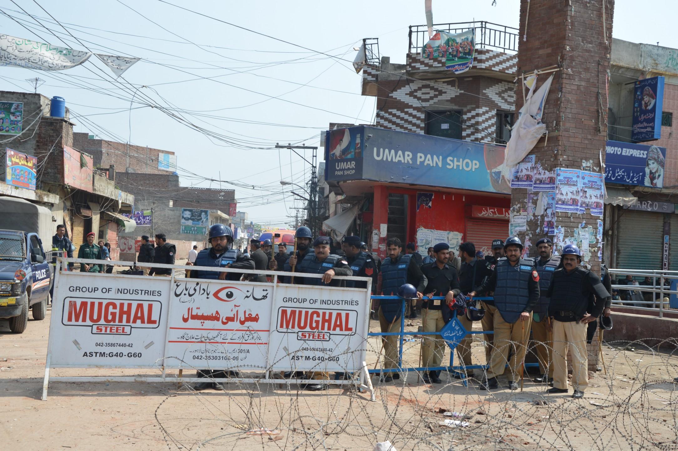 Gesloten wijk Yohannabad in Lahore, Pakistan