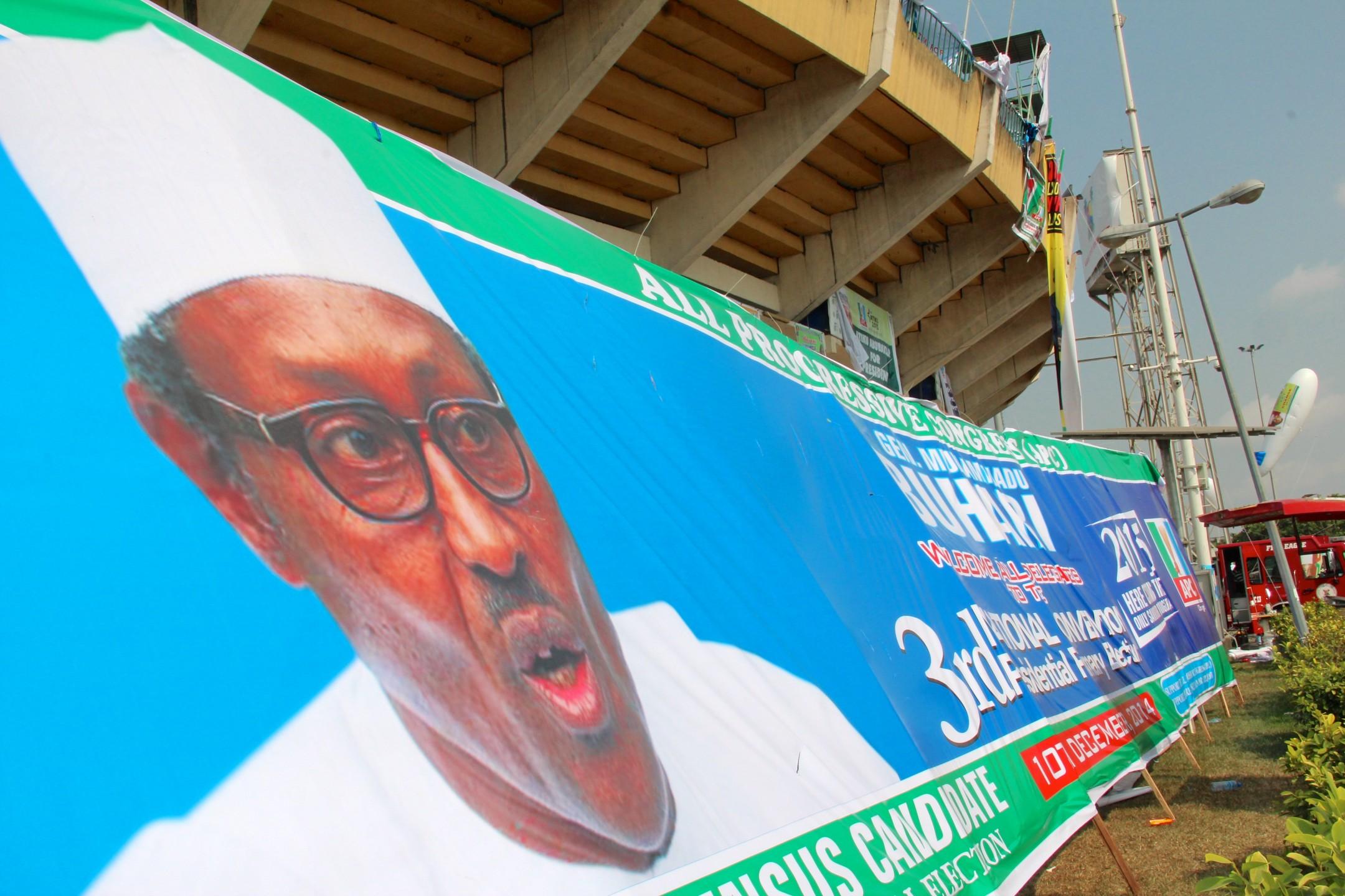 Verkiezingsposter Buhari in Nigeria