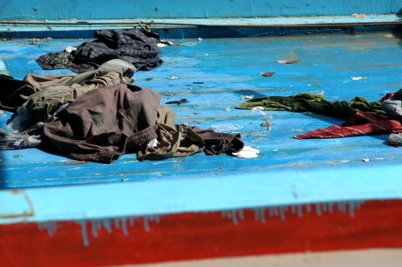 Kleren van vluchtelingen die aankwamen bij Lampedusa