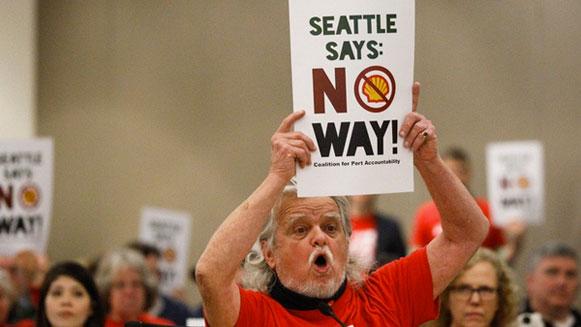 IJskoude ontvangst Shell in Seattle