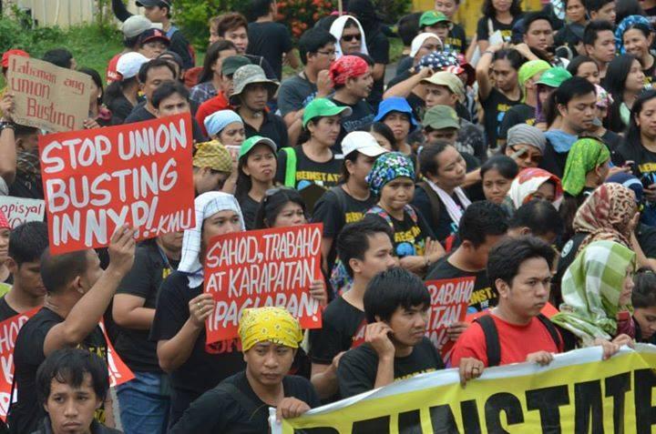 Demonstratie tegen arrestatie Filipijnse vakbondsleiders NXP. Foto: bringbacknxp24