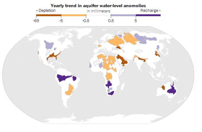 grondwaterlagen onder druk volgens Nasa