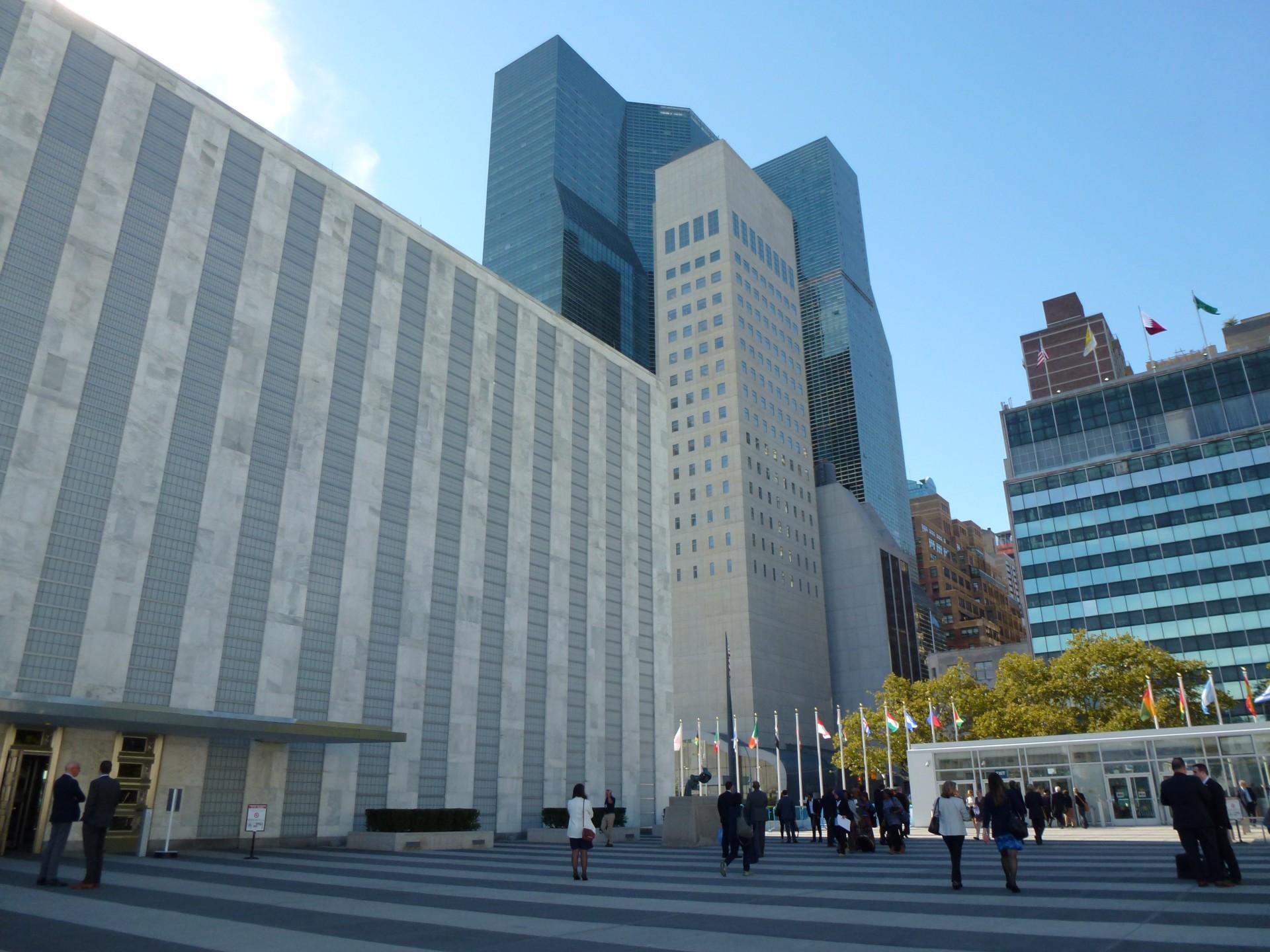 Ingang van de Algemene Vergadering van de VN in New York. Foto: Rosalie de Bruijn