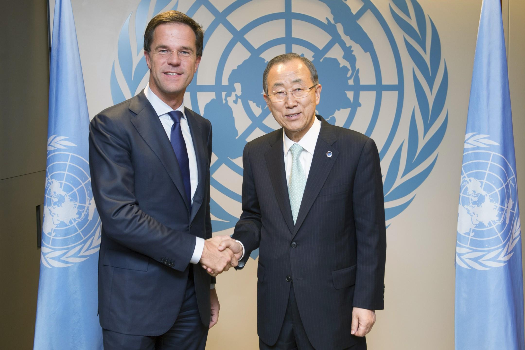 Premier Rutte en Ban-Ki Moon (UN Multimedia)