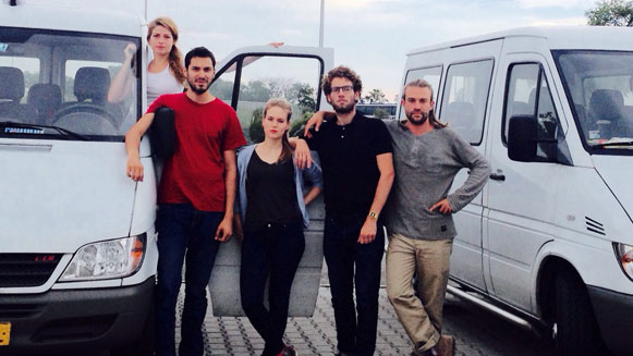 Vluchtkonvooi groepsfoto