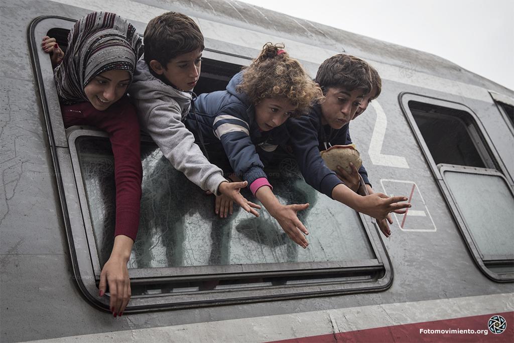 Vluchtelingen in de trein