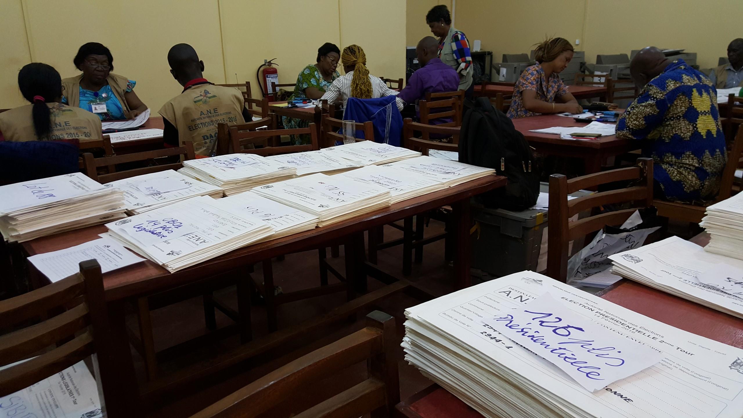 In Bangui komt elke stem voor de nieuwe president nog op papier binnen