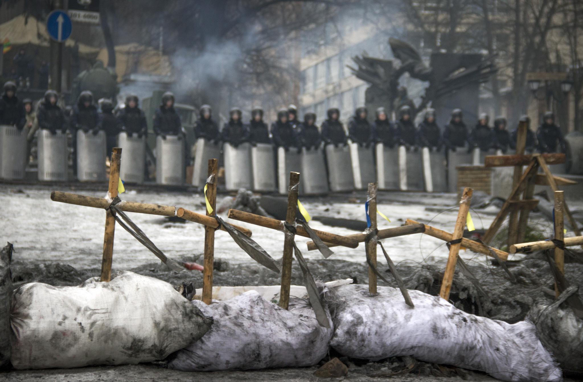 Crosses at Hrushevsky during 'Maidan'