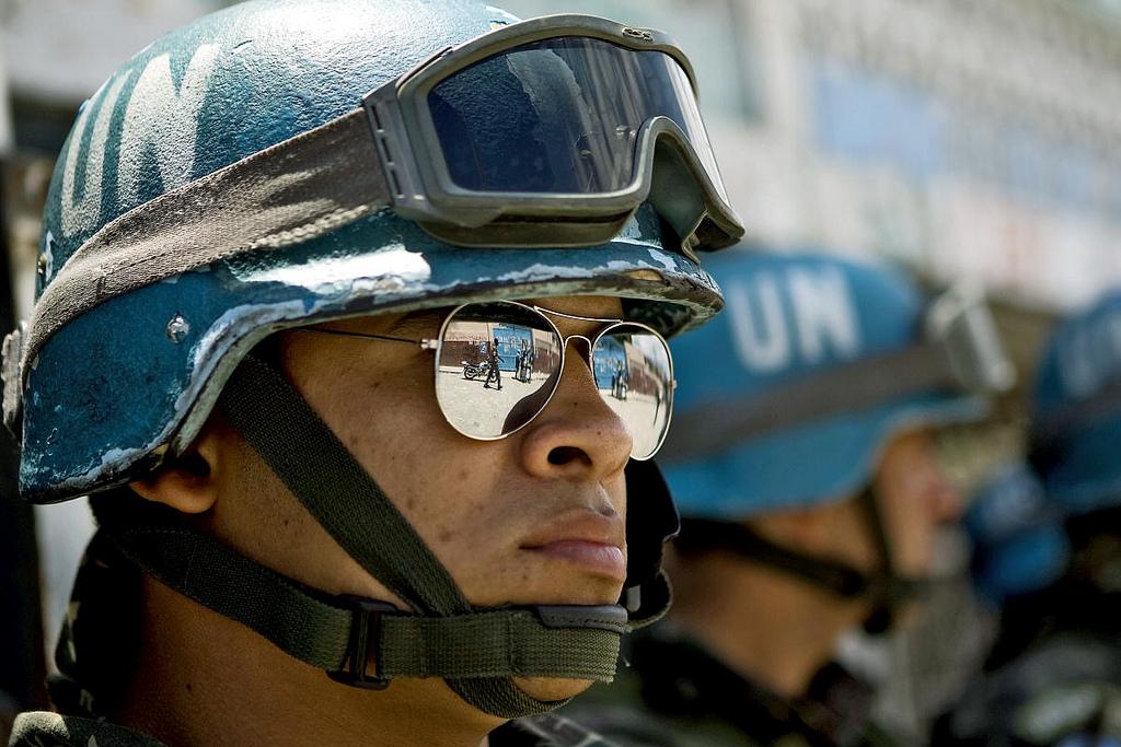 Blauwhelm van de United Nations Stabilization Mission in Haïti (MINUSTAH)