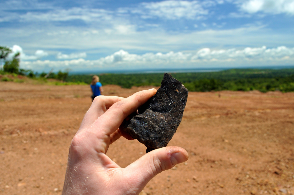 A piece of cobalt ore from the mines in the Democratic Republic of Congo.