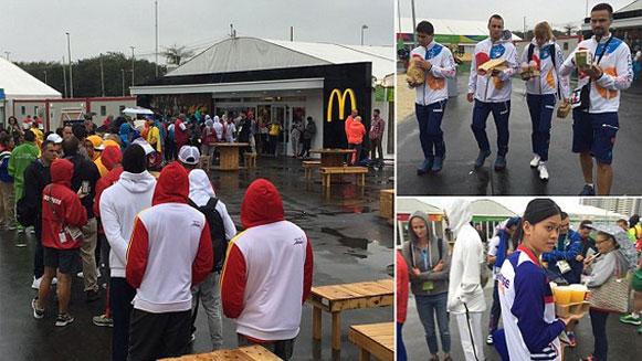 Lange rijen voor de McDonald's in Olympisch dorp Rio de Janeiro