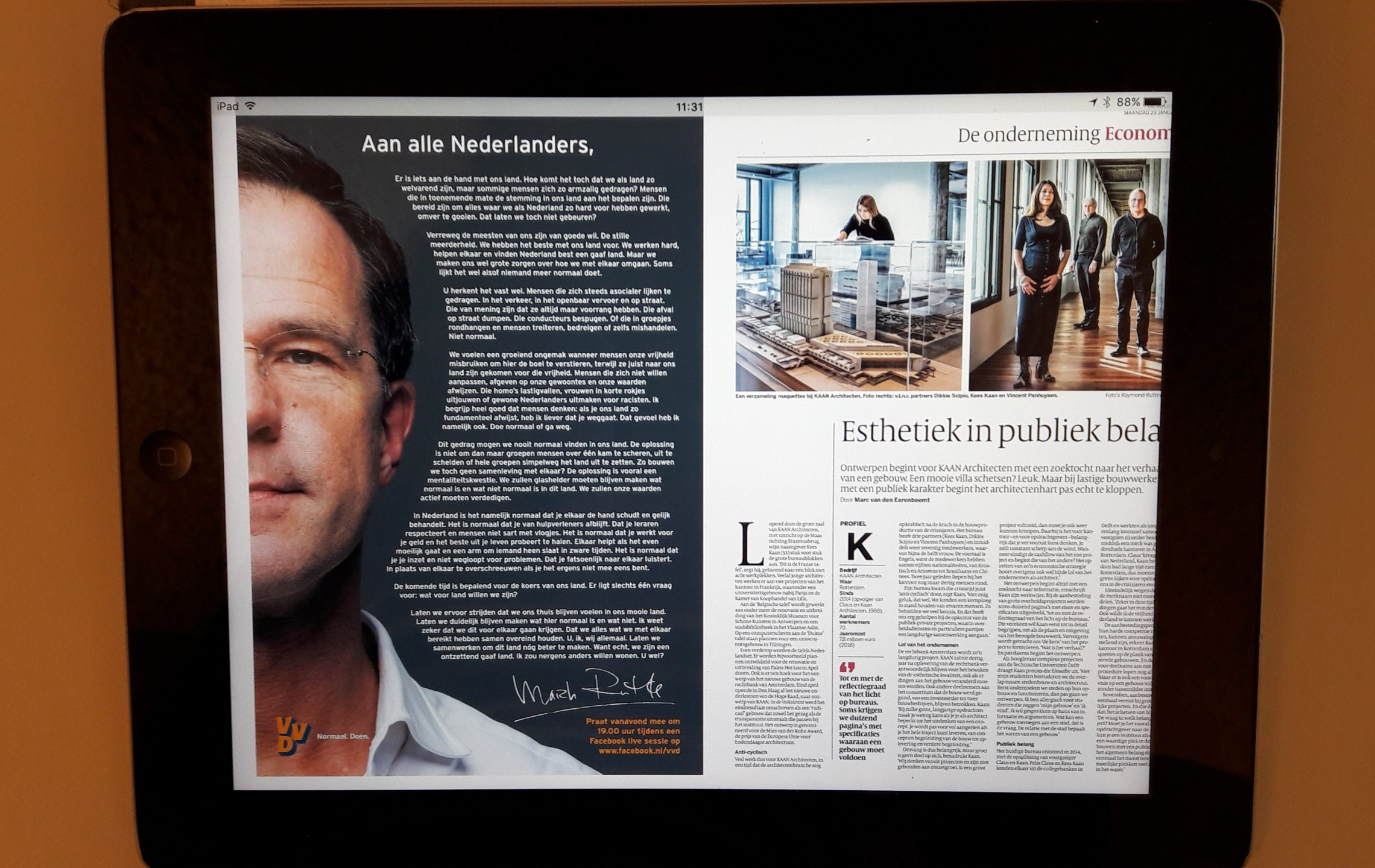 Advertentie Rutte in Volkskrant