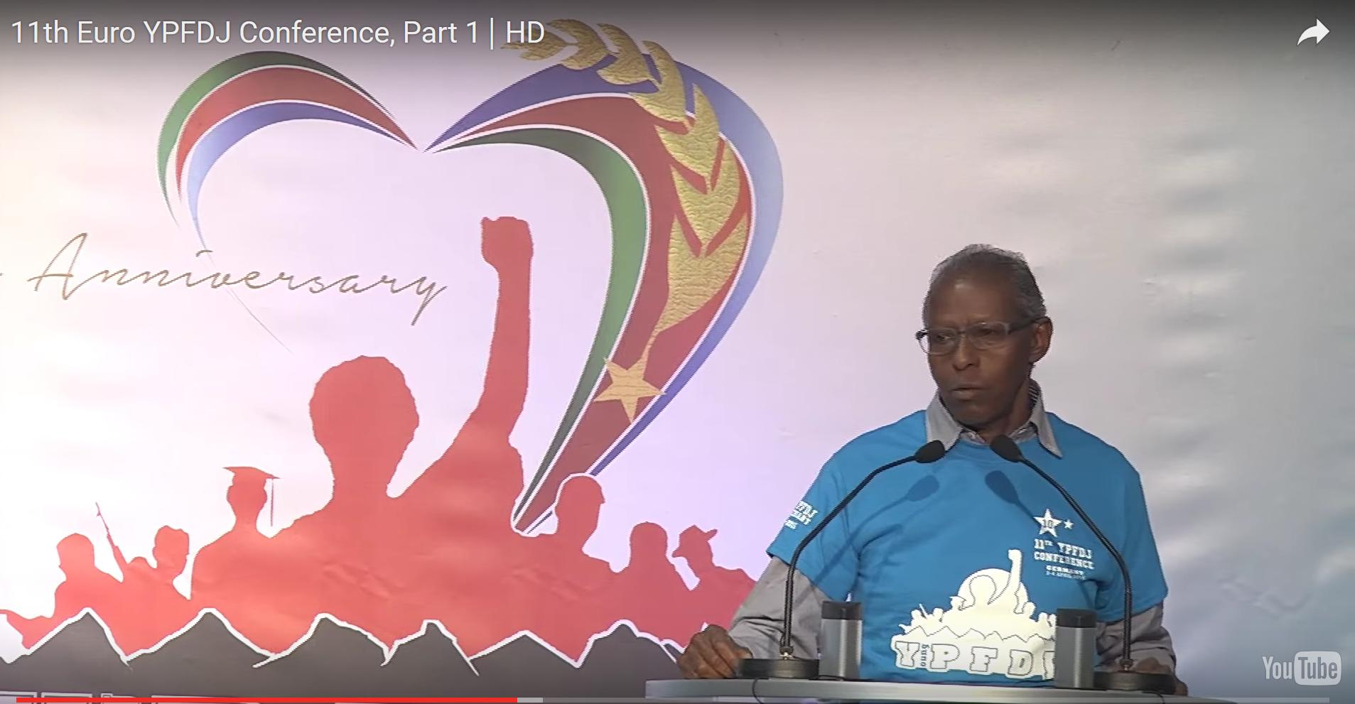 Yemane Gebreab bij de 11e YPFDJ-conferentie
