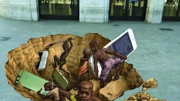 Een tekening van de Argentijnse Eduardo Relero voor een Apple winkel om aandacht te vragen voor de kinderarbeid in kobaltmijnen in de Democratische Republiek Congo.