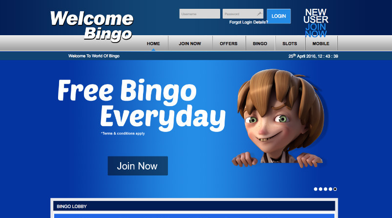 Welcome Bingo Homepage